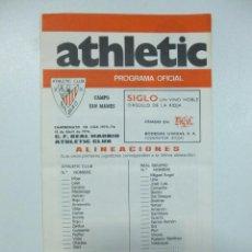 Coleccionismo deportivo: PROGRAMA DE MANO ATHLETIC CLUB BILBAO CONTRA REAL MADRID 18 ABRIL DE 1976. Lote 120962879