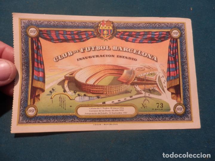 CLUB DE FÚTBOL BARCELONA - ENTRADA Nº 73 - INAUGURACIÓN ESTADIO - AÑO 1957 (Coleccionismo Deportivo - Documentos de Deportes - Entradas de Fútbol)