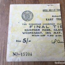 Coleccionismo deportivo: ENTRADA TICKET FINAL COPA EUROPA REAL MADRID EINTRACHT FRANKFURT 1960 GLASGOW. Lote 123343947