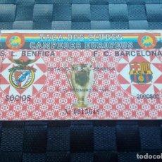 Coleccionismo deportivo: ENTRADA TICKET BENFICA V BARCELONA COPA EUROPA 1991 1992 - CURSO A LA PRIMERA COPA EUROPA. Lote 127449875