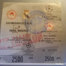 Coleccionismo deportivo: ENTRADA CHAMPIONS LEAGUE 1999 2000 - 99 00 -OLYMPIAKOS 3 REAL MADRID 3-DEBUT IKER CASILLAS CHAMPIONS. Lote 129440003