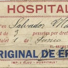 Coleccionismo deportivo: (F-180751)ENTRADA SPORT CLUB HOSPITALENC - HOSPITALET - 1 DE JUNIO DE 1928 - FOOT-BALL. Lote 129461311