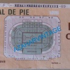 Coleccionismo deportivo: VALENCIA, 1989, DIA DEL CLUB, ENTRADA PROBABLE VALENCIA.C.F. - REAL MADRID. Lote 129551899