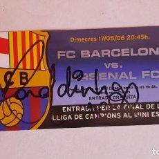 Coleccionismo deportivo: FC BARCELONA BARÇA ENTRADA FINAL PARIS 2006 MINI ESTADI FIRMADA RONALDINHO E INIESTA. Lote 131174948