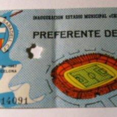 Coleccionismo deportivo: ANTIGUA ENTRADA INAUGURACION ESTADIO MUNICIPAL CREU ALTA . SABADELL 1967 . Lote 131303667