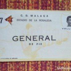Coleccionismo deportivo: ENTRADA LA ROSALEDA, GENERAL DE PIE, FOTO VALLEJO. . Lote 132924414