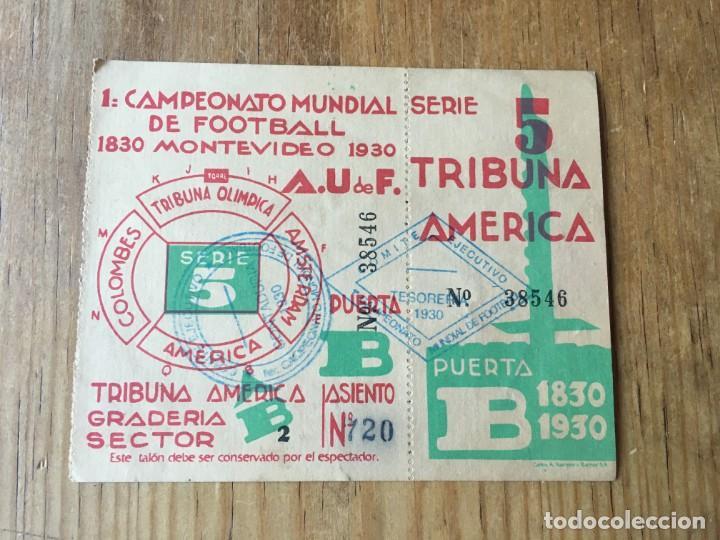 R4473 ENTRADA TICKET FUTBOL CAMPEONATO MUNDIAL 1930 ARGENTINA 3-1 CHILE (Coleccionismo Deportivo - Documentos de Deportes - Entradas de Fútbol)