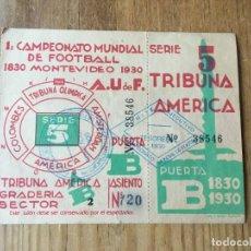 Coleccionismo deportivo: R4473 ENTRADA TICKET FUTBOL CAMPEONATO MUNDIAL 1930 ARGENTINA 3-1 CHILE. Lote 133516838