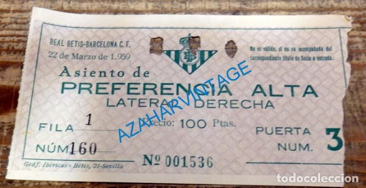 REAL BETIS BALOMPIE - ENTRADA REAL BETIS - BARCELONA C.F. - 24 DE MAYO DE 1959 (Coleccionismo Deportivo - Documentos de Deportes - Entradas de Fútbol)