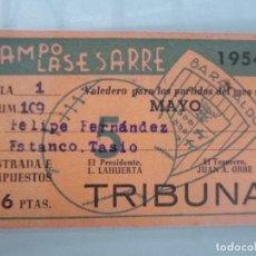 Coleccionismo deportivo: ENTRADA MES MAYO 1954 FUTBOL BARACALDO BARAKALDO CAMPO VIEJO DE LASESARRE TRIBUNA. Lote 134756474