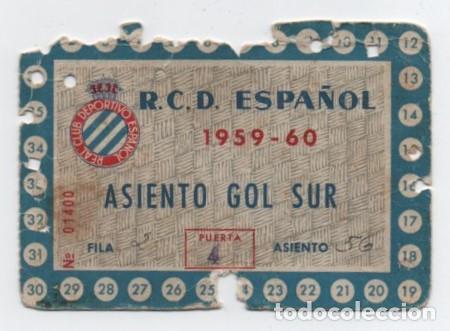 (ALB-TC-17) DIFICIL ENTRADA ABONO ANUAL R C D ESPAÑOL 1959 - 60 (Coleccionismo Deportivo - Documentos de Deportes - Entradas de Fútbol)
