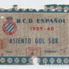 Coleccionismo deportivo: (ALB-TC-17) DIFICIL ENTRADA ABONO ANUAL R C D ESPAÑOL 1959 - 60. Lote 134967074