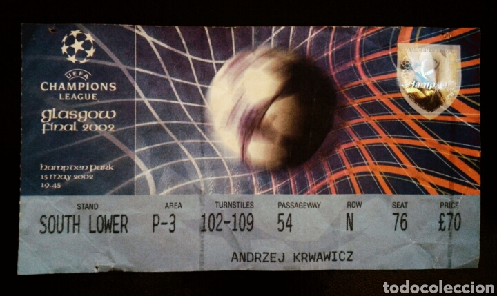 ENTRADA FINAL CHAMPIONS GLASGOW 2002 REAL MADRID BAYER LEVERKUSEN (Coleccionismo Deportivo - Documentos de Deportes - Entradas de Fútbol)