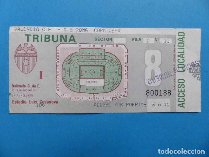 ENTRADA FUTBOL TRIBUNA - VALENCIA ROMA - COPA DE LA UEFA - TEMPORADA 1990-1991 (Coleccionismo Deportivo - Documentos de Deportes - Entradas de Fútbol)