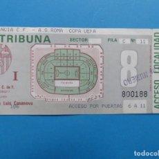 Coleccionismo deportivo: ENTRADA FUTBOL TRIBUNA - VALENCIA ROMA - COPA DE LA UEFA - TEMPORADA 1990-1991. Lote 136730118