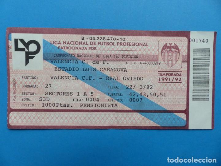 Coleccionismo deportivo: 24 ENTRADAS FUTBOL - VALENCIA C.F. - LIGA NACIONAL - TEMPORADA 1991-1992 - Foto 14 - 136730794