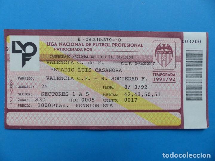 Coleccionismo deportivo: 24 ENTRADAS FUTBOL - VALENCIA C.F. - LIGA NACIONAL - TEMPORADA 1991-1992 - Foto 30 - 136730794