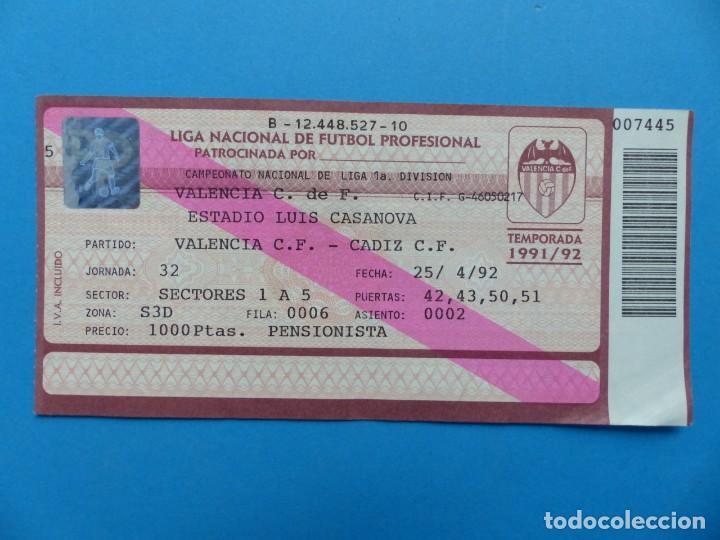 Coleccionismo deportivo: 24 ENTRADAS FUTBOL - VALENCIA C.F. - LIGA NACIONAL - TEMPORADA 1991-1992 - Foto 34 - 136730794