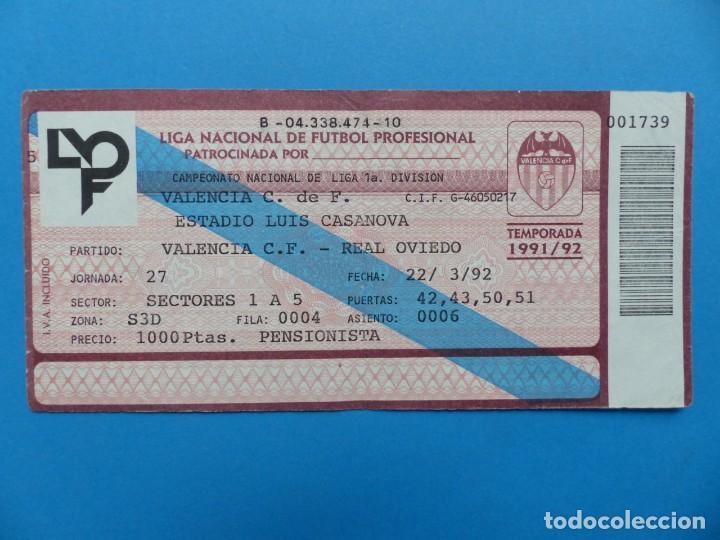 Coleccionismo deportivo: 24 ENTRADAS FUTBOL - VALENCIA C.F. - LIGA NACIONAL - TEMPORADA 1991-1992 - Foto 36 - 136730794