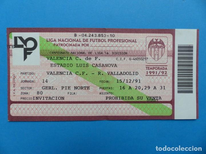 Coleccionismo deportivo: 24 ENTRADAS FUTBOL - VALENCIA C.F. - LIGA NACIONAL - TEMPORADA 1991-1992 - Foto 38 - 136730794