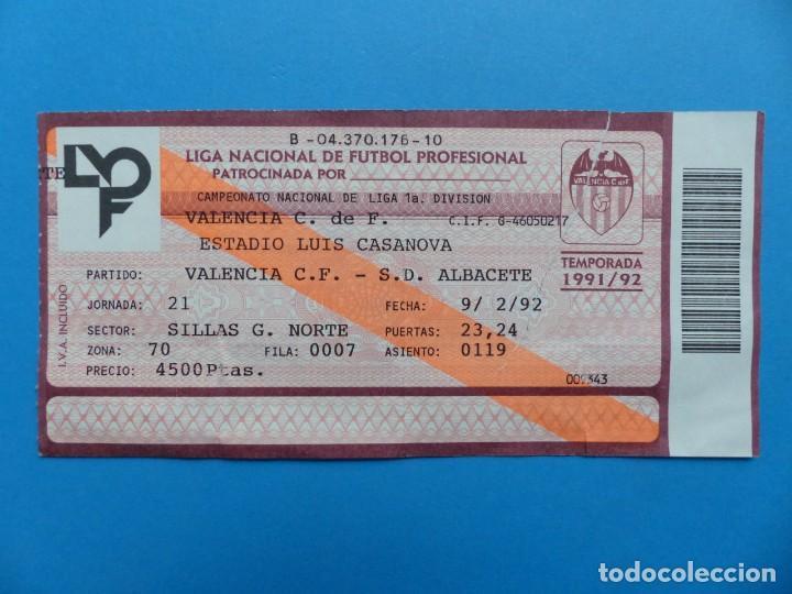 Coleccionismo deportivo: 24 ENTRADAS FUTBOL - VALENCIA C.F. - LIGA NACIONAL - TEMPORADA 1991-1992 - Foto 40 - 136730794