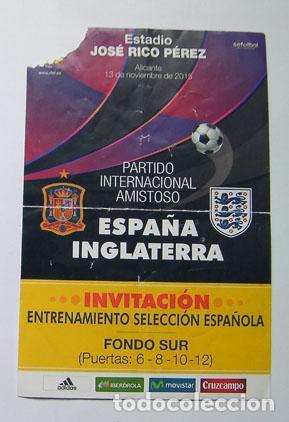 ENTRADA FÚTBOL ENTRENAMIENTO SELECCIÓN ESPAÑOLA CON INGLATERRA 2015 ESTADIO HÉRCULES DE ALICANTE (Coleccionismo Deportivo - Documentos de Deportes - Entradas de Fútbol)