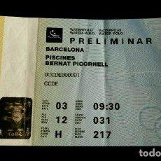 Coleccionismo deportivo: ENTRADA JUEGOS OLIMPICOS 1992 - WATERPOLO PISCINES PICORNELL - OLIMPIADAS BARCELONA 92 - PRELIMINAR. Lote 140332970