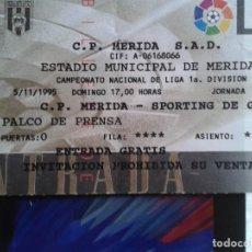 Coleccionismo deportivo: ENTRADA MERIDA - SPORTIN GIJON 1995- 1996 - FUTBOL 1 DIVISION. Lote 140451826