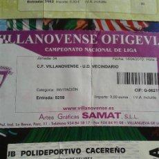 Coleccionismo deportivo: ENTRADA VILLANOVENSE- VECINDARIO 2009- 2010 . Lote 140452286