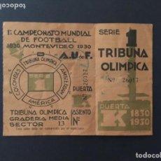 Coleccionismo deportivo: ENTRADA TICKET MUNDIAL URUGUAY 1930. PRIMER PARTIDO. Lote 140585158
