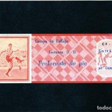 Coleccionismo deportivo: ENTRADA AL CAMPO DE VALLEJO (ACTUAL CIUTAT DE VALENCIA) LEVANTE U.D. AÑOS 1959/60. Lote 140787290