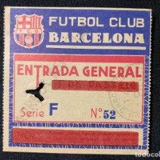 Coleccionismo deportivo: IMPRESIONANTE ENTRADA AÑOS 40 ÚNICA FÚTBOL CLUB FC BARCELONA F.C BARÇA CF . Lote 141585494