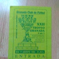Coleccionismo deportivo: PDO1- ENTRADAS PARA EL XXII TROFEO GRANADA 1994. Lote 143059878