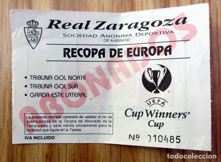 ENTRADA RECOPA 1995 REAL ZARAGOZA ABONADOS LA ROMAREDA UEFA CUP WINNMERS CUP (Coleccionismo Deportivo - Documentos de Deportes - Entradas de Fútbol)