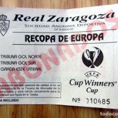 Coleccionismo deportivo: ENTRADA RECOPA 1995 REAL ZARAGOZA ABONADOS. Lote 143076106