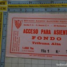 Coleccionismo deportivo: ENTRADA PARTIDO FÚTBOL. SEVILLA FC VS REAL MADRID CF. 1988. SEVILLA ESTADIO RAMÓN SÁNCHEZ PIZJUAN. Lote 143727314