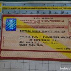 Coleccionismo deportivo: ENTRADA PARTIDO FÚTBOL. SEVILLA FC VS BAYERN MUNICH 1992. PRESENTACIÓN DIEGO ARMANDO MARADONA. Lote 143727654