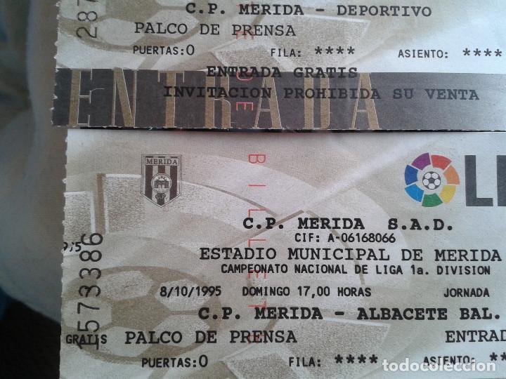 Coleccionismo deportivo: ENTRADAS FUTBOL MERIDA 1995- 1996 1 DIVISION - LOTE DE 5 PARTIDOS O ENTRADAS - Foto 2 - 144137534