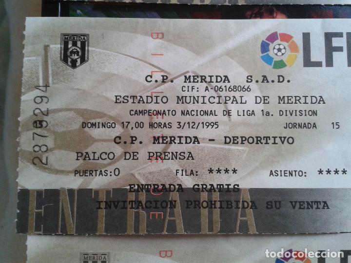 Coleccionismo deportivo: ENTRADAS FUTBOL MERIDA 1995- 1996 1 DIVISION - LOTE DE 5 PARTIDOS O ENTRADAS - Foto 3 - 144137534