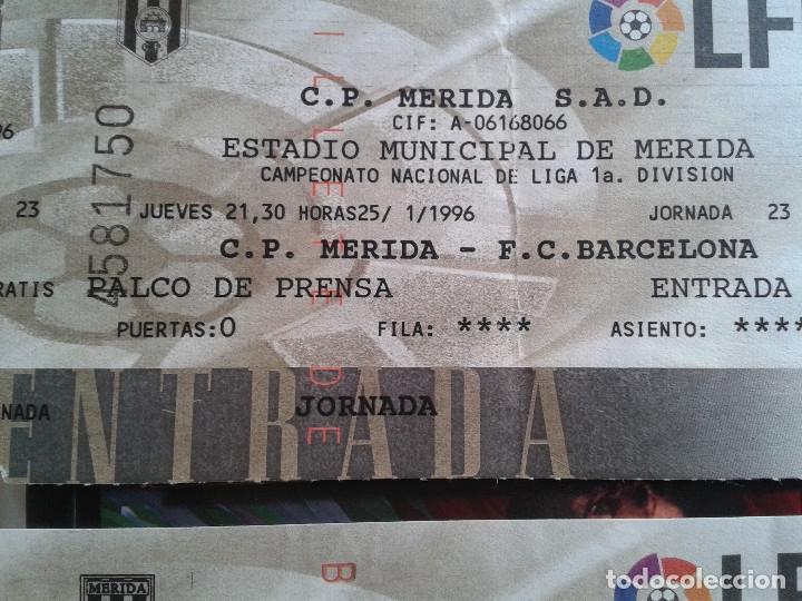 Coleccionismo deportivo: ENTRADAS FUTBOL MERIDA 1995- 1996 1 DIVISION - LOTE DE 5 PARTIDOS O ENTRADAS - Foto 5 - 144137534