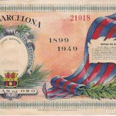 Coleccionismo deportivo: ENTRADA DE LAS BODAS DE ORO DEL ESTADIO DEL CLUB DE FUTBOL BARCELONA 1899-1949. Lote 144241394