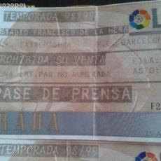 Coleccionismo deportivo: ENTRADA EXTREMADURA FC BARCELONA 1998- 99 1 DIVSION- LFP. Lote 145293038