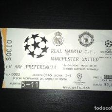Coleccionismo deportivo: ENTRADA REAL MADRID - MANCHESTER UNITED (CHAMPIONS LEAGUE, 4-4-2000). Lote 145422278