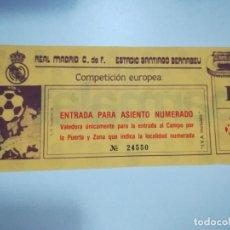 Coleccionismo deportivo: ENTRADA DE COMPETICIÓN EUROPEA DEL REAL MADRID EN EL SANTIAGO BERNABEU. AÑOS 80. Lote 146627054