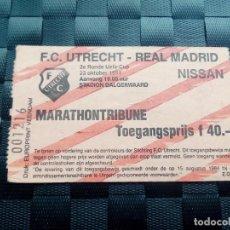 Coleccionismo deportivo: ENTRADA TICKET UTRECHT V REAL MADRID COPA UEFA 1991 1992. Lote 147196174