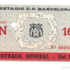 Coleccionismo deportivo: TICKET PRIMER PARTIDO CAMP NOU - BARCELONA FC 1957. Lote 147220518