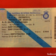 Coleccionismo deportivo: ENTRADA RCD ESPANYOL. ESTADI DE SARRIÀ. RCD ESPAÑOL-RAYO VALLECANO. AÑO 1992. Lote 148464794