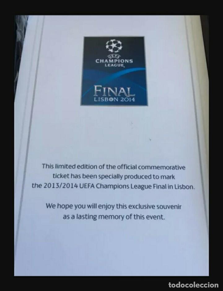 Coleccionismo deportivo: ENTRADA VIP REAL MADRID v ATLETICO MADRID CHAMPIONS LEAGUE FINAL 2014 LISBOA - Foto 2 - 148861642