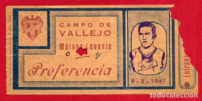 ENTRADA DE FUTBOL , LEVANTE MALAGA , CAMPO DE VALLEJO , ORIGINAL , ET3929 (Coleccionismo Deportivo - Documentos de Deportes - Entradas de Fútbol)
