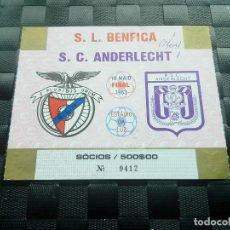 Coleccionismo deportivo: ENTRADA TICKET BENFICA V ANDERLECHT FINAL COPA UEFA 1982 1983. Lote 150308794